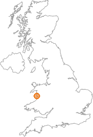 map showing location of Abergynolwyn, Gwynedd