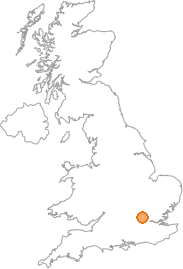 map showing location of Aldenham, Hertfordshire
