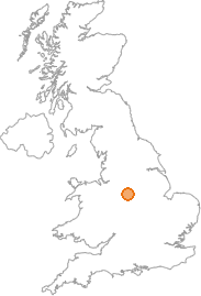 map showing location of Ashbourne, Derbyshire