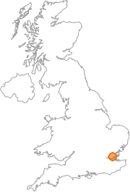 map showing location of Basildon, Essex
