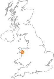 map showing location of Bethania, Gwynedd