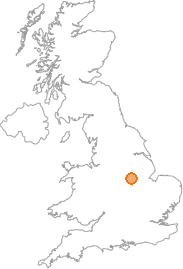 map showing location of Bingham, Nottinghamshire