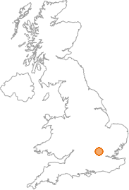 map showing location of Bourne End, Hertfordshire