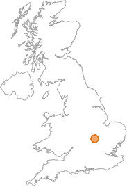 map showing location of Bozeat, Northamptonshire