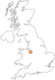 map showing location of Bridgemere, Cheshire