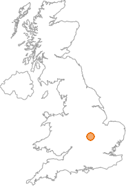 map showing location of Brixworth, Northamptonshire