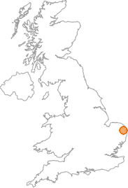 map showing location of Brundall, Norfolk