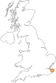 map showing location of Canterbury, Kent