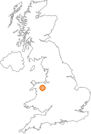 map showing location of Cerrigydrudion, Conwy