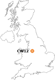 map showing location of CW12