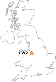 map showing location of CW2