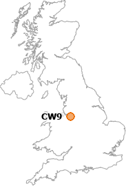 map showing location of CW9