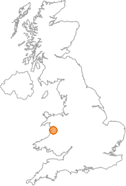 map showing location of Cwrt, Gwynedd