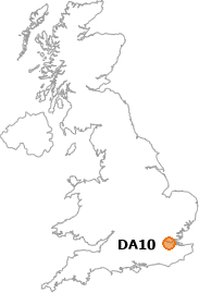 map showing location of DA10