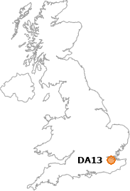 map showing location of DA13
