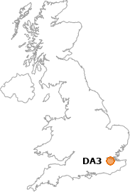 map showing location of DA3