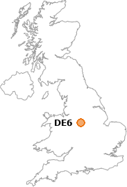 map showing location of DE6