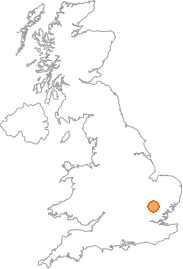 map showing location of Debden, Essex