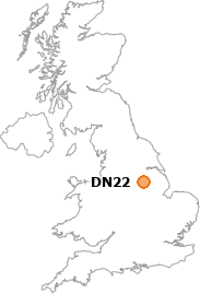 map showing location of DN22