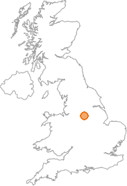 map showing location of Dronfield Woodhouse, Derbyshire