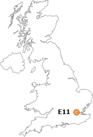 map showing location of E11