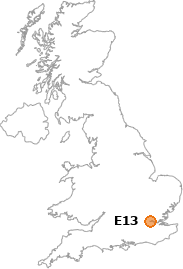 map showing location of E13