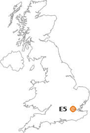 map showing location of E5