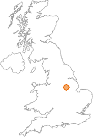 map showing location of Eakring, Nottinghamshire