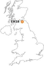 map showing location of EH18
