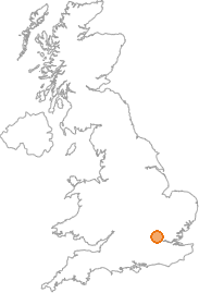 map showing location of Elstree, Hertfordshire
