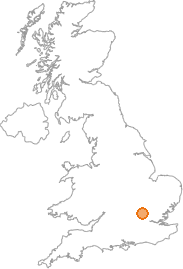 map showing location of Flamstead, Hertfordshire