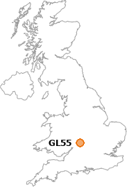 map showing location of GL55
