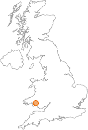map showing location of Glanaman, Carmarthenshire