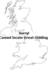 map showing location of Great Gidding, Cambridgeshire