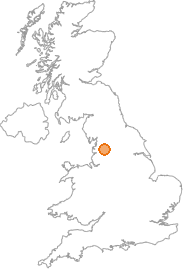 map showing location of Great Mitton, Lancashire