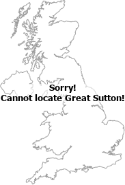 map showing location of Great Sutton, Cheshire