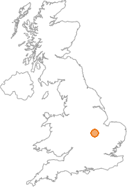map showing location of Gretton, Northamptonshire