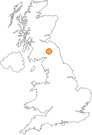 map showing location of Hassendean, Scottish Borders
