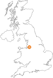 map showing location of Hollins Green, Cheshire