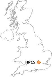 map showing location of HP15