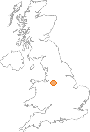 map showing location of Jodrell Bank, Cheshire
