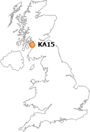 map showing location of KA15