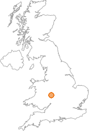 map showing location of Kinlet, Shropshire