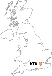 map showing location of KT8
