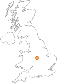 map showing location of Linton, Derbyshire