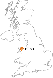map showing location of LL33