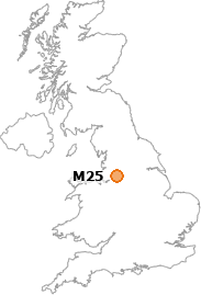 map showing location of M25