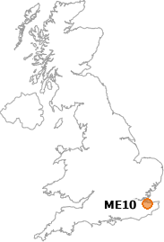 map showing location of ME10