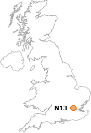 map showing location of N13