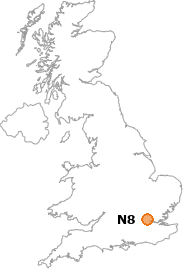 map showing location of N8